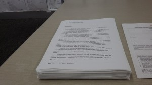 Double-edged Sword manuscript freshly printed and being stared at by me.